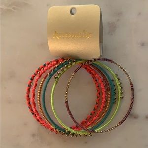 NWT: Neon Beaded Bangles, set of 6